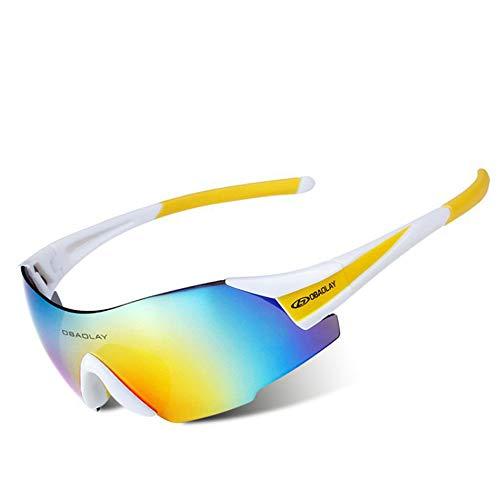 AUMING UV400 Sport-Sonnenbrille, polarisiert, Sportsonnenbrille, Superleichter Rahmen, für Herren und Damen, zum Laufen, Radfahren, Skifahren, Snowboarden. Weiß/Gelb