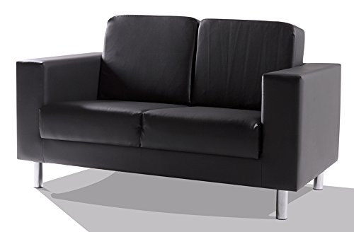 SUSI 2-Sitzer Sofa Kunstleder, schwarz