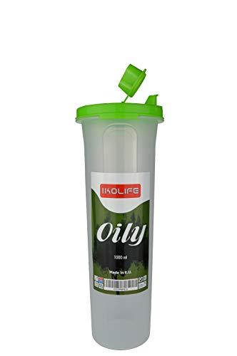 IKOLIFE Oily, Contenitore vuoto da 1 litro per olio d'oliva, olio alimentare, aceto, pratico in cucina. Anti-sgocciolamento (da 1000 ml), senza BPA, realizzato in UE.