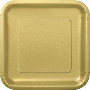 GSL Gold 50 Stück Pappteller eckig 22.86 cm Party Barbeque-Aufschrift