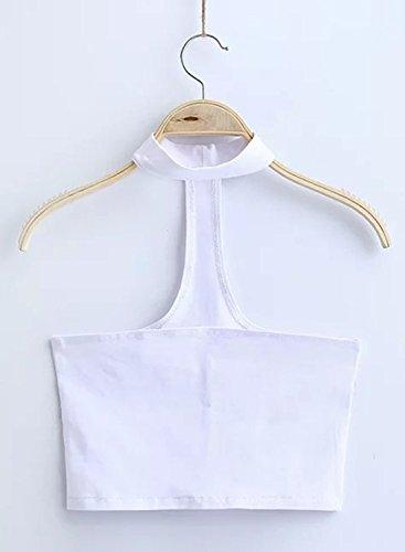 ACHICGIRL Women's Solid Sleeveless Choker Crop Top white