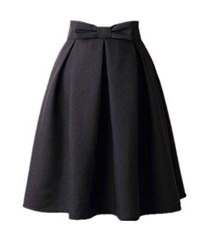 uideazone Fashion Womens Summer Midi Pleated Skirts High Waist Knee Length Skirt