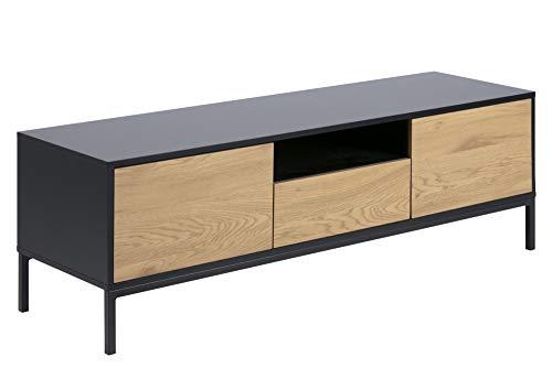 PKline TV Sea Tisch schwarz Eiche Metall Fernsehtisch Sideboard Lowboard Schrank