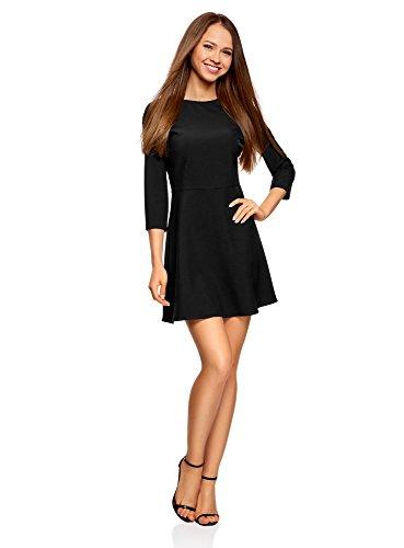 oodji Ultra Damen Tailliertes Kleid mit Rückenausschnitt, Schwarz, DE 34 / EU 36 / XS (Kleid Kleine Rock Damen)