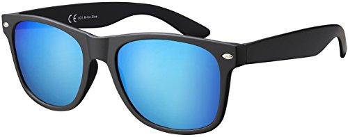 Original La Optica UV400 Unisex Sonnenbrille - Farben, Einzel-/Doppelpacks, Verspiegelt (Einzelpack Matt Schwarz (Gläser: Hellblau))