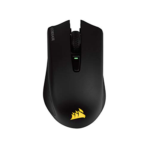 Corsair Harpoon Wireless Rgb Mouse Ottico da Gioco, Ricaricabile, con Tecnologia Slipstream, Sensore Ottico 10000 Dpi, Retroilluminazione a LED Rgb, Nero