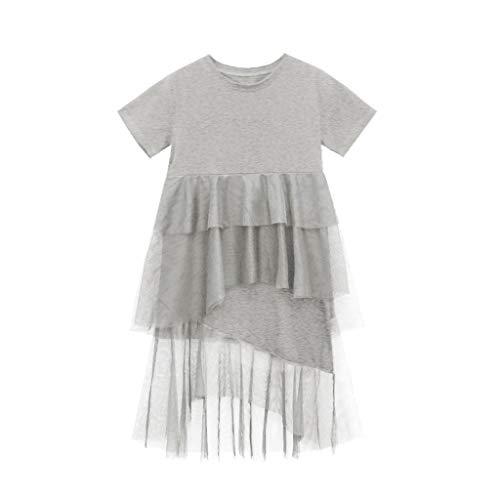 Livoral Baby Madchen Hairband Teen Kids Baby Mädchen Kurzarm Grenadine Joint Tiered Princess Layered Dress(Grau,150)