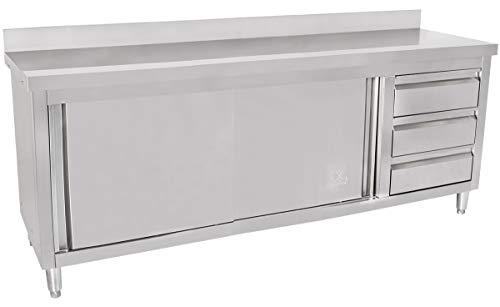 Beeketal \'BAS200-60R\' Gastro Edelstahl Küchenschrank mit 3 Schubladen (rechts), 2 Rolltüren und 4 verstellbaren Standfüßen, Küchen Arbeitsplatte mit 10 cm Aufkantung - (L/B/H) ca. 2000 x 600 x 950 mm