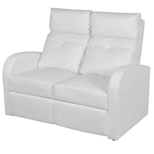 Festnight divano in pelle con poggiapiedi e imbottitura divano home cinema a due posti reclinabile in pelle artificiale bianco