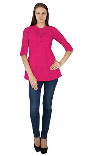 Boho Sundress Top Robe Tunique Vêtements Pour En Coton Solide Rose foncé