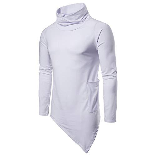 Herren Pullover -Mode Männer Casual Solide Herbst Winter Choker Outwear Tops Bluse Freizeit Einfarbig mit Kapuze Boss Diagonaler Saum Oben-Outdoorbekleidung Oberteile (Weiß,M)