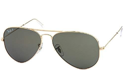 Ray-Ban Aviator Large Metal RB3025 C62 001/58 Polarisierende Sonnenbrillen, 62 mm Large, Arista Gold / Grün Polar