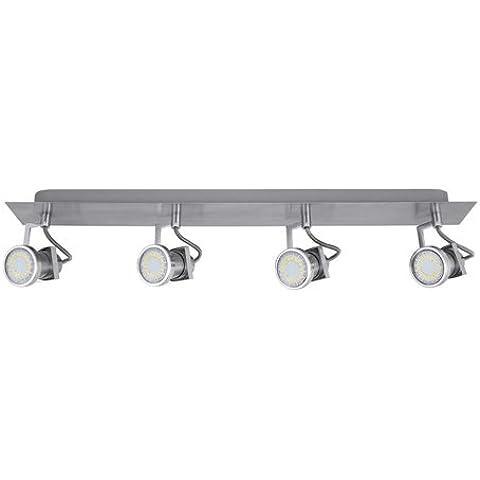 Lámpara LED de techo Anabel de largo, 4-lámpara de techo, de mesa de níquel mate, LED de eficiencia energética: a+