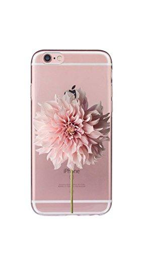 Case Cover Per iphone 6/6S Plus 5.5 pollici Trasparente TPU Gel Silicone Bumper Protettivo Skin Custodia Ultra-sottile Flessibile morbido Protettiva Shell(fiore) Un fiore