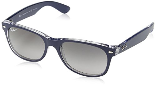 Ray Ban Unisex Sonnenbrille New Wayfarer Polarized , Gr. 55 mm, Blau (Transparent), RB 2132 55 6053M3