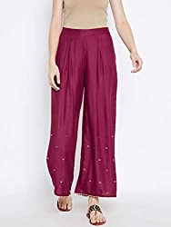 Be Indi Women Wine Coloured Solid Palazzo 10049