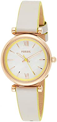 Fossil Carlie Mini Women's White Dial Leather Analog Watch - ES