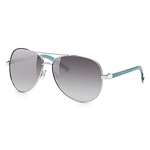 Sunglass Junkie Over-sized Mirror Sunglasses for Women: 100% UV Blocking Smoke Purple Gradient Lenses in Silver Metal Aviator Shape Frame with Strong Blue Polycarbonate Plastic Arms. Sun Filter Cat 2