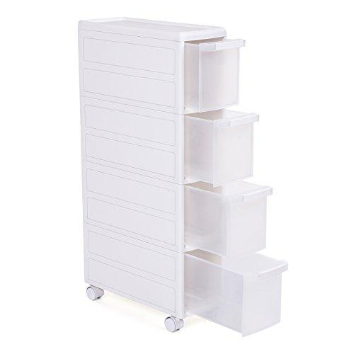 Songmics Carrito con ruedas para baño o cocina Estantería de almacenamiento 4 Niveles Estantería con cajones Plástico PP Blanco 18 x 46 x 84,5 cm (Anchura x Profundiad x Altura) KFR05W