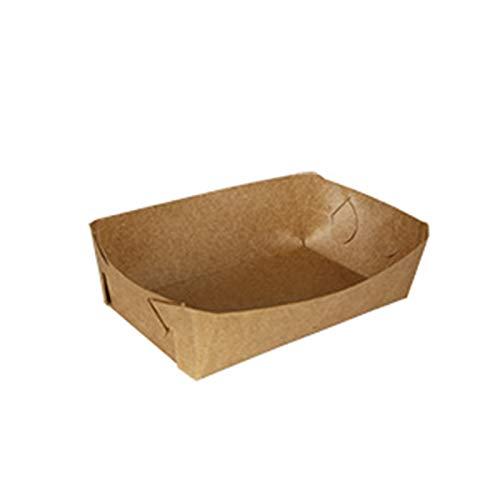 Warooma Papiertablett für Lebensmittel, Braun, Kraftpapier, Einweg-Papier, Lebensmittelablagen für Partys, Mitnehmen, Heimgebrauch (100 Stück) 5