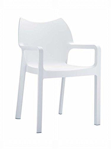 moderner XXL-Stapelstuhl aus Kunststoff, belastbar bis 160Kg - Gartenstuhl in Weiß wasserabweisend...