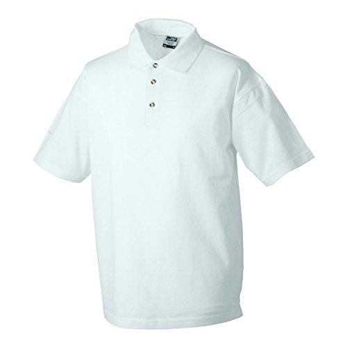 JAMES & NICHOLSON Herren Poloshirt, Einfarbig Weiß