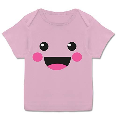 (Karneval und Fasching Baby - Süßes Gesicht Fasching Kostüm - 80-86 (18 Monate) - Rosa - E110B - Kurzarm Baby-Shirt für Jungen und Mädchen in verschiedenen Farben)