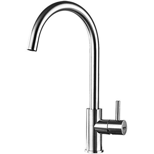 Preisvergleich Produktbild Cqq Wasserhahn Küchenarmatur Bleifreier Edelstahl Warm - und Kaltwasserbehälter Gemüsestützhahn Kann gedreht werden