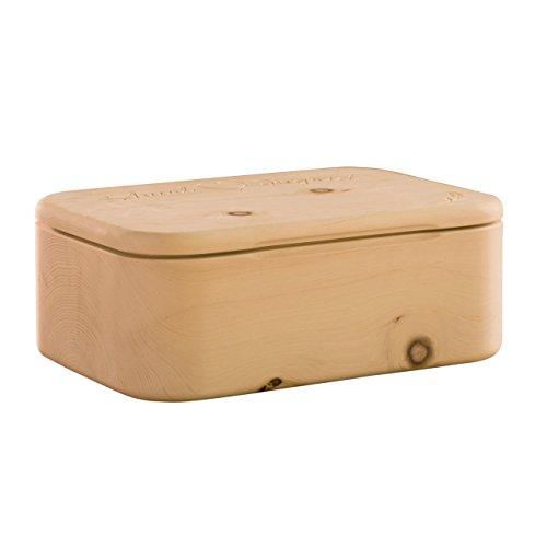 Brotkasten aus einem Stück Zirbenholz - Qualität aus Südtirol 42 x 30 x 16 cm (Brotdose Zirbenholz, Brotbox Holz, Brottruhe, Brotbehälter)