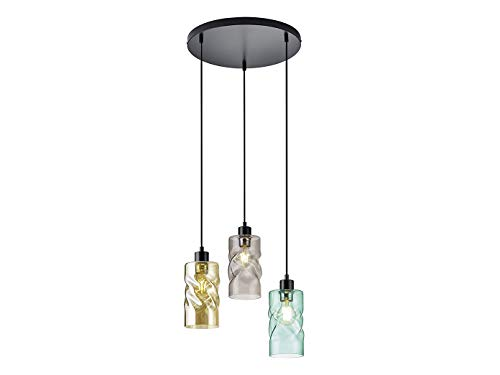 Lámpara colgante LED de 28 cm de diámetro, 3 focos de metal...