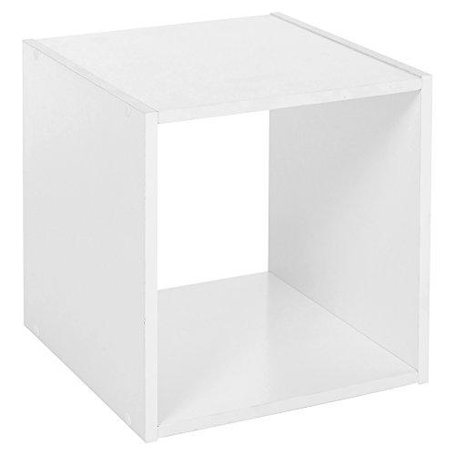 URBN LIVING ® 1, 2, 3, 4 Tier Wooden Shelving Bookcase Storage Wood Shelf  Unit (Cube, White)
