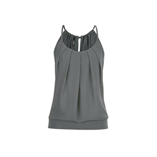 OverDose Damen Casual Sommer Strappy Lose Geknitterte O Neck Cami Tank Tops Weste Bluse Tees Frauen Hemd Freizeit Oberteile T Shirt(Grau,EU-48/CN-5XL)