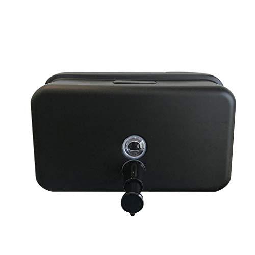 Dispensador de jabón de Acero Inoxidable Hotel Hogar Baño Jabón de Inodoro Montado en la Mano Desinfectante de Manos Botella Presser, Negro (Color : Black, tamaño : 12.5 * 21cm)