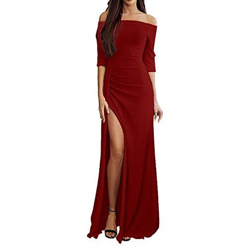 iHENGH Damen Frühling Sommer Rock Bequem Lässig Mode Kleider Frauen Röcke Off Schulter Kleider hoch Split Maxi Lange Abendkleider(Rot, L) (Silk Tank Kleid)