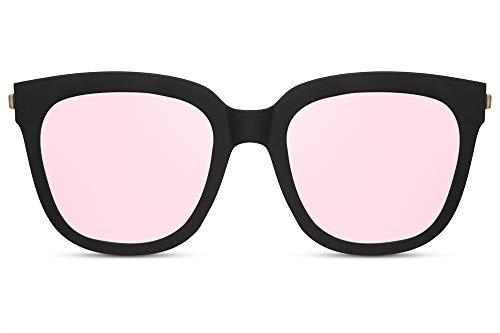 Cheapass Sonnenbrille Damen Matt-Schwarz Pink Verspiegelt UV-400 Oversized Groß X-XL Plastik Damen