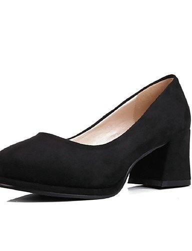 WSS 2016 Chaussures Femme-Bureau & Travail / Habillé / Soirée & Evénement-Noir / Rouge-Gros Talon-Talons / Bout Arrondi-Talons-Laine synthétique red-us8 / eu39 / uk6 / cn39