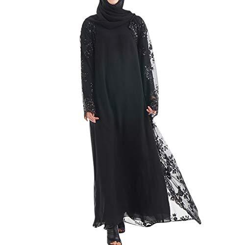 Scolor Strickwaren Ponchos für Damen Charmantes Frauenkleid Mädchen Abendkleider Islamisches Kleidungsstück Traditionelle Saris Muslim Islamisches Kostüm Mode Pailletten(Schwarz,XXL)