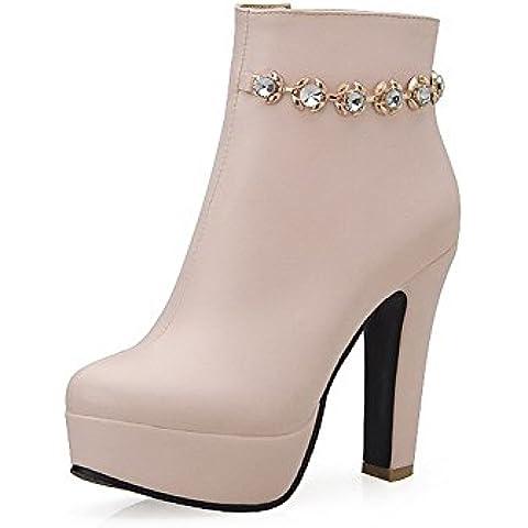 VogueZone009 Donna Punta Tonda Puro Bassa Altezza Tacco Alto Stivali con Ornamento Di (I Migliori Donne Di Inverno Boots)