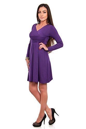 Futuro Fashion Classique & Sensible Femmes Robe Col V Manches Longues Empire 8467 Violet