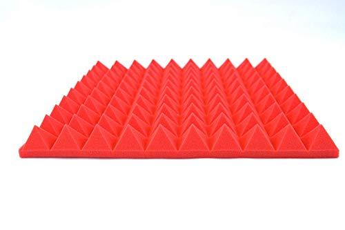 Lot de 8 panneaux en mousse pyramide acoustique B1 ignifuge Rouge 500 mm x 500 mm