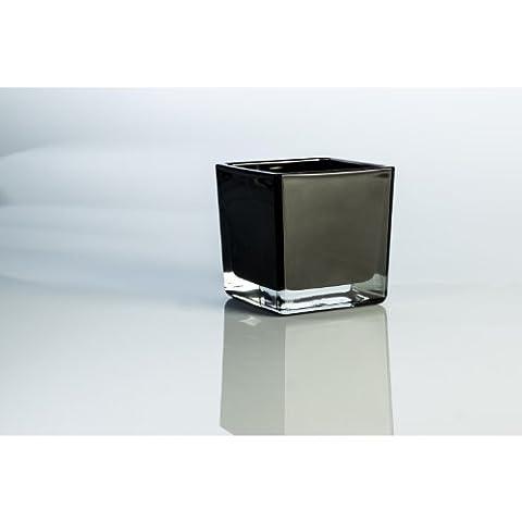 Lot 6 x Petit photophore en verre KIM, noir, 8 x 8 x 8 cm - 6 pcs Photophore cube / Photophore en verre - INNA Glas