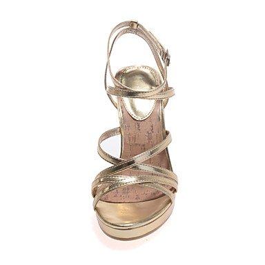 LvYuan DamenHochzeit / Party & Festivität-Kunstleder-Stöckelabsatz-Fersenriemen-Silber / Gold Silver