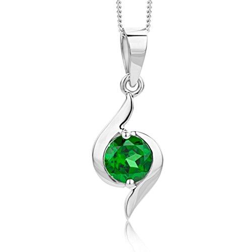 Miore Collier Femme avec pendentif  (9 carats) Emeraude de synthèse Vert