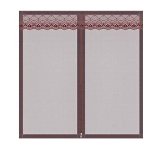 JLDN Mesh-Vorhang mit Reißverschlussfenster, Heavy Duty Mesh Automatisches Schließen Strapazierfähig, für mehrere Fenster,Coffee_130x150CM