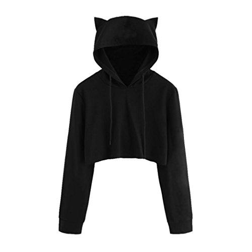 OYSOHE Womens Cat Ear Langarm Hoodie Sweatshirt mit Kapuze Pullover Tops Bluse (S, Schwarz)