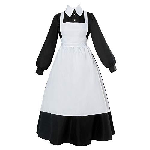 NSPSTT Mädchen Anime Kellnerin Kostüm Maid Costume Kleider Cosplay Dienstmädchen Outfit