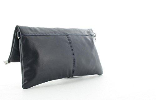 JSI Damen Handgelenktasche Schultertasche Abendtasche Leder 310617 Dunkelgrau Dunkelblau