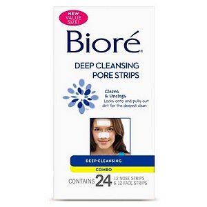 Biore Deep Cleansing Nose/Face Combo Pore Strips, 24 Stk. -