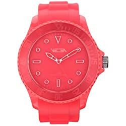 Vega Unisex Quartz Watch with Pink Dial Analogue Display and Pink Silicone Strap VEGWATPNK