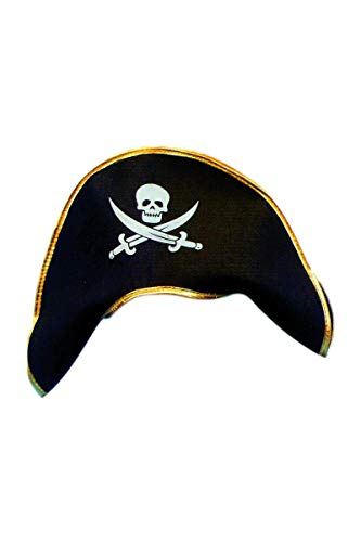 Smiffys,Piraten Kapitäns-Hut, mit Schädel und gekreuzten Knochen